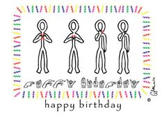 Happy Birthday Stick Figures Greeting Card $2.00