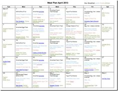 Inspiration for me to see how to put together a meal plan for the month