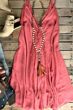 Our Wishing You Well Dress is perfect for that beach trip! It's a sleeveless tunic dress with braided straps that tie. Deep double v-neckline with embroidery detail. Made to be loose fitted and unlined - Loveety Cute Cowgirl Outfits, Rodeo Outfits, Country Outfits, Chic Outfits, Summer Outfits, Fashion Outfits, Country Dresses, Country Fashion, Boho Fashion
