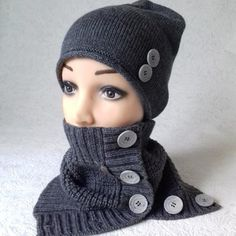 SET Women s knitted set beanie and Snood with buttons women s knitted hat  spring or warm winter d8dee981696c