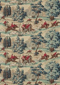 Tally Ho (224339) - Sanderson Fabrics - The much loved 'Hunting Scene' has featured in the Sanderson Classic Linens series for many years. Originally hand block printed in 1948, the studio has repainted this scenic design to capture the charm of the original in two vintage colourways. At home in studies and cosy living and dining rooms. Shown here in red, teal and brown. Other colour ways and coordinating wallpaper available. Please request a sample for true colour and texture match.