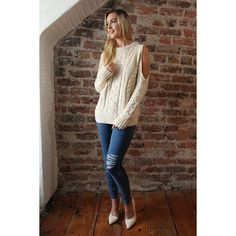 Adalyn Cream Cold Shoulder Jumper (4,790 DOP) ❤ liked on Polyvore featuring tops, sweaters, cream sweater, open shoulder tops, party tops, cut-out shoulder tops and cold shoulder sweater