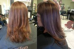Hair color: Reddish Brown Highlights, Low Lights, Square Layering by Hair Stylist - Hair Colorist Andrea Montoya