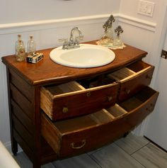 shows how the drawers were reconfigured for the plumbing vanity sink Repurposed Antique Dresser turned into a Bathroom Sink Vanity Dresser Vanity Bathroom, Bathroom Vanity Designs, Vanity Sink, Antique Bathroom Vanities, Antique Vanity, Bathroom Ideas, Gray Dresser, Bathroom Green, Antique Chest