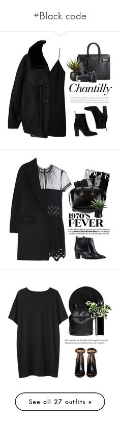 """#Black code"" by lolgenie ❤ liked on Polyvore featuring T By Alexander Wang, Yves Saint Laurent, Acne Studios, CB2, Byredo, Nikon, Zara, self-portrait, Holga and MaxMara"