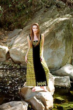 ASTRAL PLANE 1960s Velvet Psychedelic Vintage Dirndl Maxi Dress