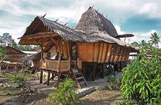 Traditional house in Lolofaoso village, North Nias Regency, Nias Island, Indonesia. Photo by Bjorn Svensson. www.northniastourism.com