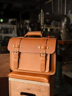 Beautiful Tobacco Colored Fine Leather Satchel~