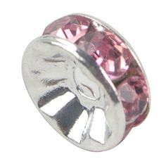 niceeshop(TM) 1 Sack (100Pcs) Kristall Silber Plattiert Rand Farbenreich Perle 8mm-Rosa - http://schmuckhaus.online/niceeshop/rosa-niceeshop-tm-1-sack-100pcs-kristall-rand-8mm