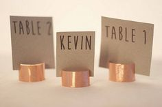 Color Inspiration: #TrendingCopper Wedding Ideas in 2015.Place Card Holders: Etsy http://www.modwedding.com/2015/02/15/color-inspiration-trending-copper-wedding-ideas-in-2015/ #weddingtrends