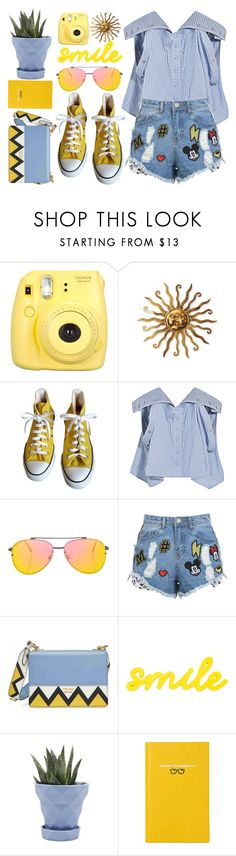 """#331"" by vilte-m ❤ liked on Polyvore featuring Fujifilm, Converse, Y/Project, Topshop, Prada, Chive and Smythson"