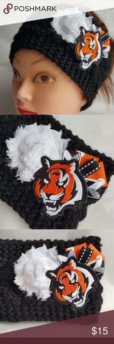 """Cincinnati Bengals Headband Bengals Football NFL You will receive exactly what is pictured.  Handmade item from Issaquah, WA, USA. Item is 100% acrylic, exclusive of flowers and ribbon.  Approximate height is 4"""" tall. Material is stretchy and one size fits most women.  Product Care Instructions: Hand wash in cold water. Lay flat to dry, do not wring. Recommended to just spot clean as needed.  This item includes small parts/pieces, keep out of the reach of children. Headband is for teens…"""