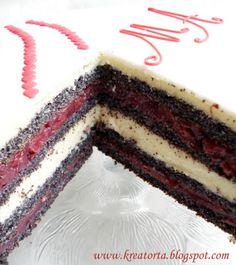 Meggyes máktorta Tiramisu, Fondant, Cream, Ethnic Recipes, Minden, Food, Poppy, Heaven, Cakes