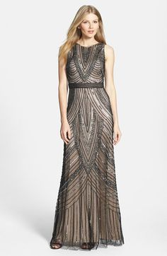 $378 Adrianna Papell Beaded Sleeveless Mesh Gown | Nordstrom