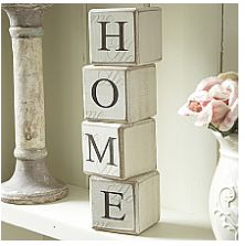 Wooden Blocks-Home  Set of wooden building blocks spelling out the word Home. A trendy shelf sitter. Each block 5cm square. From the site http://www.livelaughlove.co.uk/Wooden-Blocks-Home.html