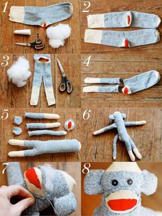 A classic and trusted sidekick - so that's how they are made step by step instructions from abeautifulmess ..... http://abeautifulmess.typepad.com/my_weblog/2012/04/sock-monkey-and-friend-diy.html