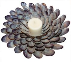 SOLD /// Blue Mussel Pie Candleholder by BARBARA GREEN of High Tide Gallery (copyrighted image - all rights reserved). Please inquire about purchasing shell mirrors, lamps and candleholders similar to those shown here by emailing HighTideGallery@gmail.com SHOP FOR AVAILABLE BARBARA GREEN SHELL ART: http://www.staugustineart.net/seaside-home-decor.html