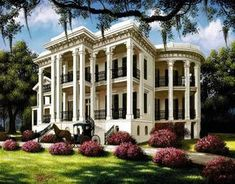 Southern Plantation Homes, Southern Mansions, Southern Plantations, Southern Homes, Plantation Houses, Antebellum Homes, Mediterranean Home Decor, Mediterranean Architecture, Historic Homes