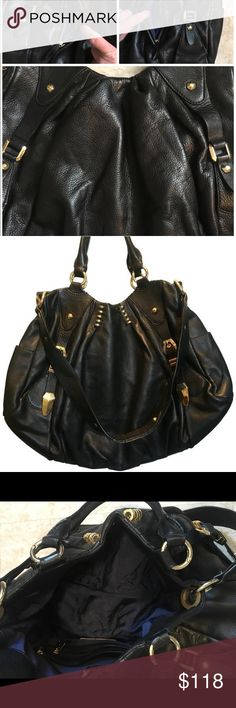 """Oversized orYany hobo style handbag black w/ gold This handbag is just awesome! It's a soft genuine leather and oversized to fit all the things """"we must"""" carry around with us daily lol it's black with gold accents and pockets galore! Even hidden pockets! The brand is oryany and trust me you won't be disappointed! Brand new this purse was very pricy😬Measurements are 16""""L x 4""""W x 15""""H Handbag is in like new condition! orYANY Bags Hobos"""
