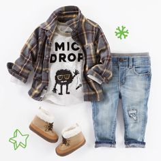Cozy, cool... #micdrop!   Shop this little look in our bio. #oshkoshkids #babystyle #babyjeans