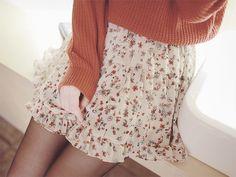 cute floral-pattern skirt