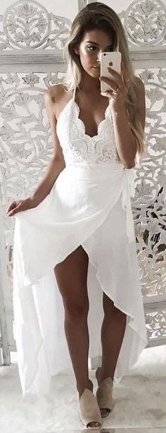 50 Trending And Young Summer Outfits From Fashionista : Kelsey Floyd White Maxi Dress V Neck Prom Dresses, White Maxi Dresses, Maxi Wrap Dress, Lace Dress, Dress Up, White Dress, Maternity Dresses, Skater Dress, Causal Wedding Dress