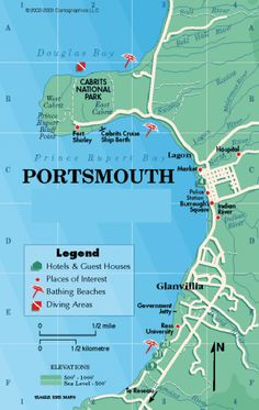 dominica   Portsmouth Dominica Map • mappery