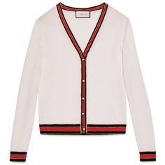 Gucci Merino Wool Knit Cardigan ($990) ❤ liked on Polyvore featuring tops, cardigans, outerwear, white, white knit top, white v neck cardigan, v-neck cardigan, merino wool tops and gucci