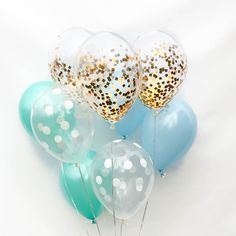Welcome baby boy into the world with this sweet and adorable set of balloons. Our boy baby shower balloons include chic gold confetti balloons + latex classics. Baby Shower Decorations For Boys, Baby Shower Themes, Baby Boy Shower, Shower Ideas, Birthday Decorations, Birthday Ideas, Birthday Parties, Glitter Ballons, Gold Confetti Balloons