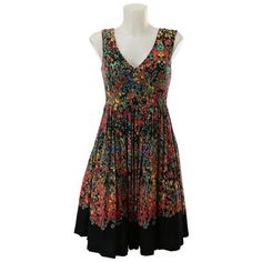 Pre-Owned Nwt Plenty Tracy Reese Red Print Sleeveless Dress Size 2 ($77) ❤ liked on Polyvore featuring dresses, black, sleeveless dress, pre owned dresses, pattern dress, sleeveless print dress and print dress
