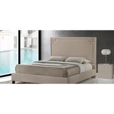 Baxton Studio Heidi Contemporary Beige Linen Upholstered Platform Bed