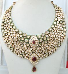 Vintage antique huge 20 carat Gold Daimond polki kundan necklace rajasthan india. $33,000.00 USD, via Etsy.