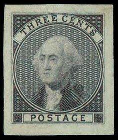 US Stamp 1851-57 - George Washington, 1st US Pres 1789-1797, 3 cents