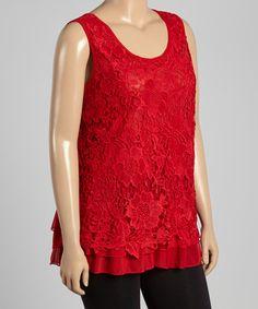 Loving this Red Crochet Tank - Plus on #zulily! #zulilyfinds