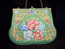 Vintage tapestry purse lush sage green with flowers