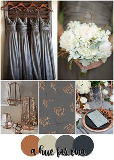 Classic Copper, Ivory and Grey Wedding Colour Scheme - Elegant Wedding - Metallics - Bridesmaids Dresses - Flowers - Wedding Planning - A Hue For Two   www.ahuefortwo.com