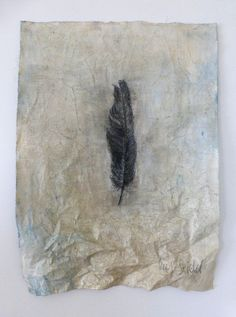 feather. graphite drawing on cloth by Ines Seidel