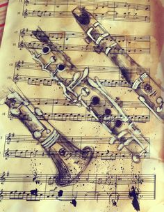 Very artsy picture of a clarinet on sheet music. Clarinet Sheet Music, Bass Clarinet, Sheet Music Art, Art Music, Music Notes Art, Music Sheets, Trombone, Saxophone, Music Pics