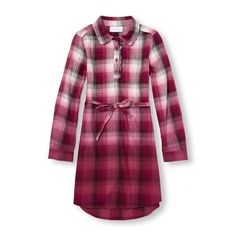 Girls Long Sleeve Plaid Dip-Dye Woven Hi-Low Dress - Red - The Children's Place