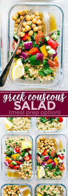 A delicious and healthy Greek couscous salad that everyone will go crazy for! (M. A delicious and healthy Greek couscous salad that everyone will go crazy for! (Meal prep options and tips included) via chelseasmessyapro. Vegetarian Meal Prep, Vegetarian Recipes, Meal Prep Salads, Veggie Meal Prep, Meal Prep For Vegetarians, Weekly Lunch Meal Prep, Pescatarian Recipes, Vegetarian Lunch Ideas For Work, Veggie Lunch Ideas