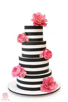 Wedding Food Series: Cake and Dessert Options, Part 2 — Perfectly Planned Moments Pink Cake Box, Pink Cakes, Black And White Wedding Cake, Black White, White Lace, White Chocolate Strawberries, Online Cake Delivery, Flamingo Cake, Casino Cakes
