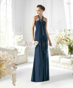 Neckholder Perlenstickerei Blaue Abendkleider PSL1305380