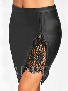Women Sexy Zipped Bandage Pencil Skirts Lace Insert Fitted Faux Leather Skirt Autumn Zip Up High Quality Mini Skirts Black Black Leather Skirts, Faux Leather Skirt, Leather And Lace, Cheap Skirts, Mini Skirts, High Waisted Pencil Skirt, Pencil Skirts, Pencil Dresses, Long Tutu Skirt