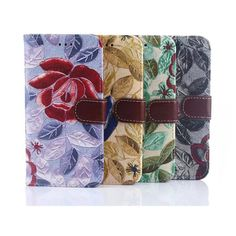 Flower Print Cloth Stand Case Protective Cover For HTC One M9