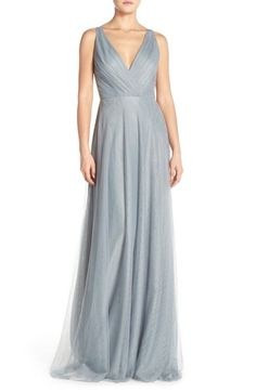 This color:sea blue. Monique Lhuillier Bridesmaids Back Cutout Pleat Tulle Gown available at #Nordstrom