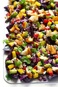 Rainbow Fish Taco Nachos -- easy to make, naturally gluten-free, and guaranteed to be the hit of the party! | gimmesomeoven.com