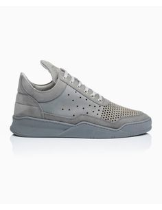 Filling Pieces - Low Top Gradient Perforated Nubuck Trainers - Grey