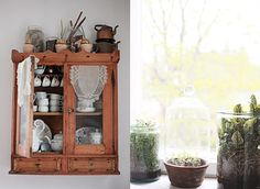 Rustic cupboard and wares in a Finnish home