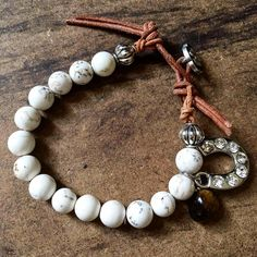 White Turquoise bracelet with Tigers Eye and Lucky Charm