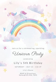 Unicorn Party Invitation Template Customize Add Text And Photos Print Download Send Online For Free Invitations Printable Diy Birthday